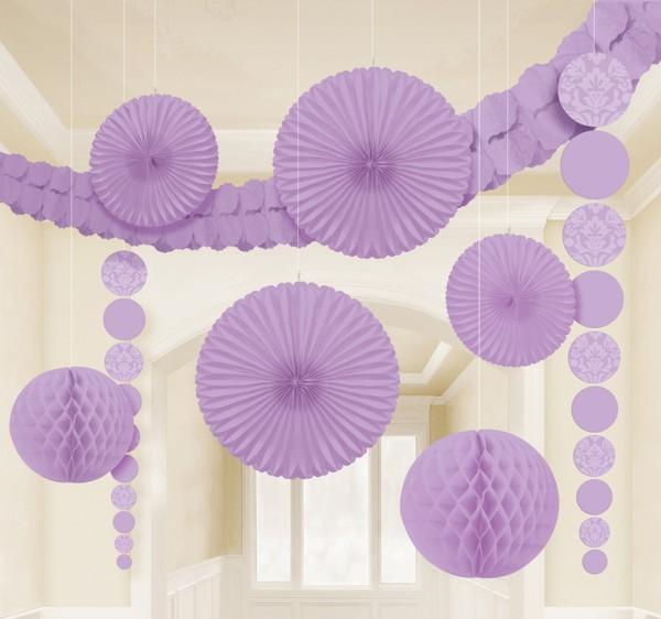New Romance Party decoración colgante set lavanda 9 piezas