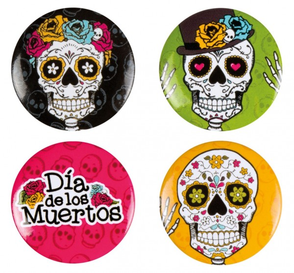 4 boutons tête de mort Dia De Los Muertos 3cm