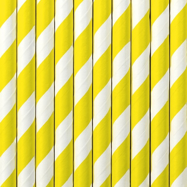 10 striped paper straws yellow 19.5cm