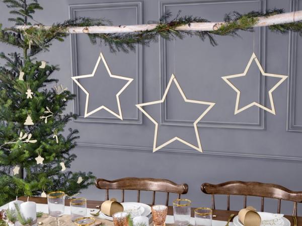 3 Sterren Houten Decoratiehangers