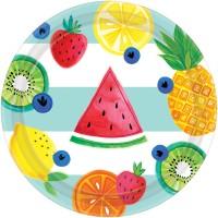 8 Tutti frutti Pappteller 18cm