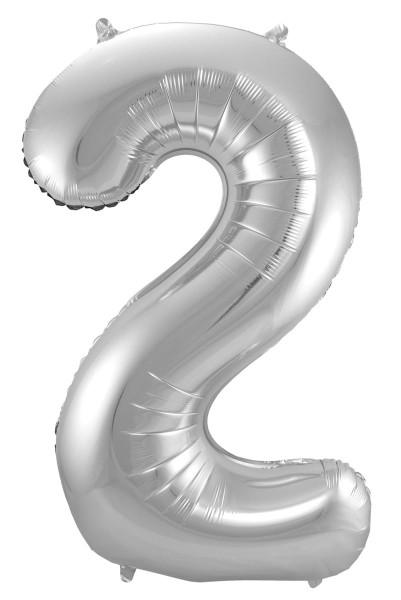 Folienballon Zahl 2 silber 86cm