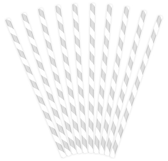 10 striped paper straws gray 19.5cm