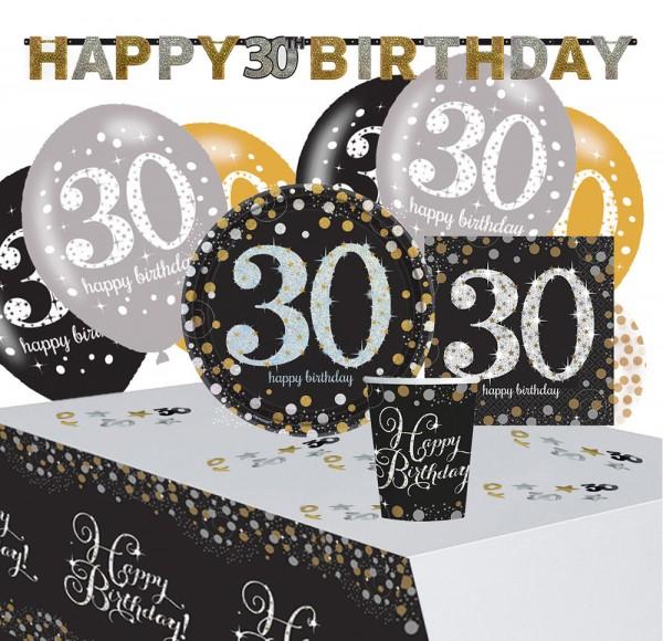 Ensemble de décoration 30e anniversaire doré 41 pièces