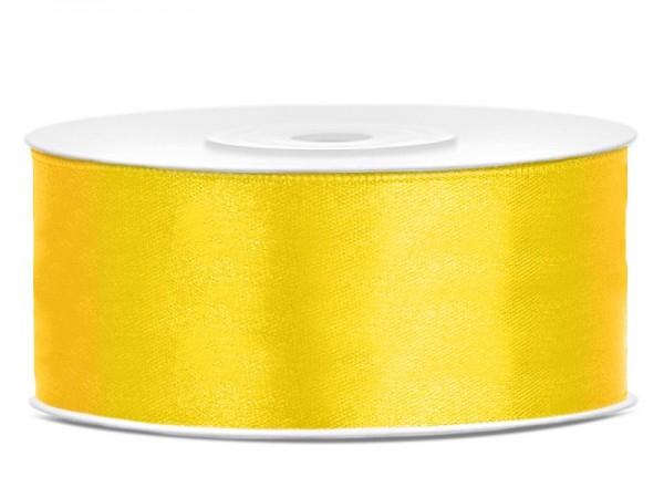 Cinta de regalo de satén de 25 m amarilla de 25 mm de ancho