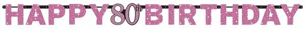 Pink 80th Birthday Girlande 2,13m