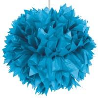 Blaue Pompom Ball Deko 30cm