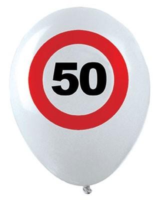 12 trafikskilte 50-års fødselsdag balloner