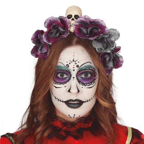 Tag der Toten Haarreif mit Blumen und Totenkopf