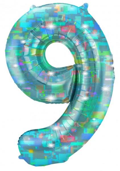 Holografische Zahl 9 aqua 1,01m