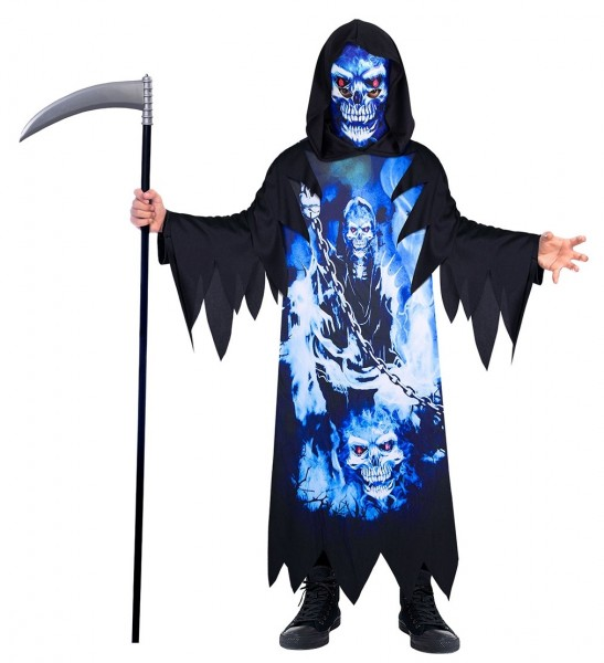 Costume morte personificata fluo per bambino ecosostenibile