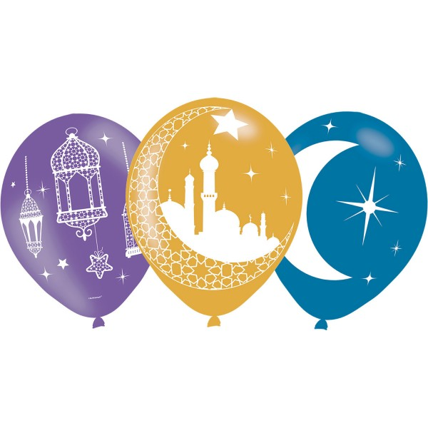 6 globos coloridos Eid Mubarak 27.5cm