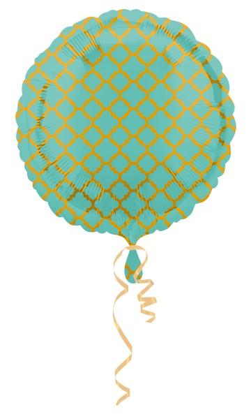 Ballon aluminium rond à motifs vert et or