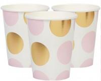8 Party Pappbecher pastell rosa mit goldenen Punkten 220ml
