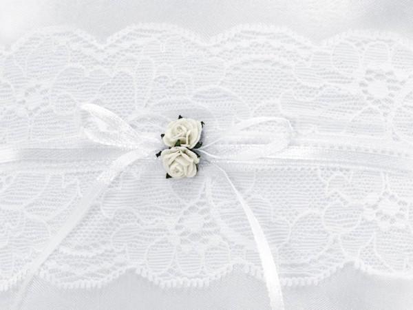 Hochzeitskissen für Eheringe in Weiß 16x16cm