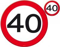 Verkehrsschild 40 Tischset 8-teilig