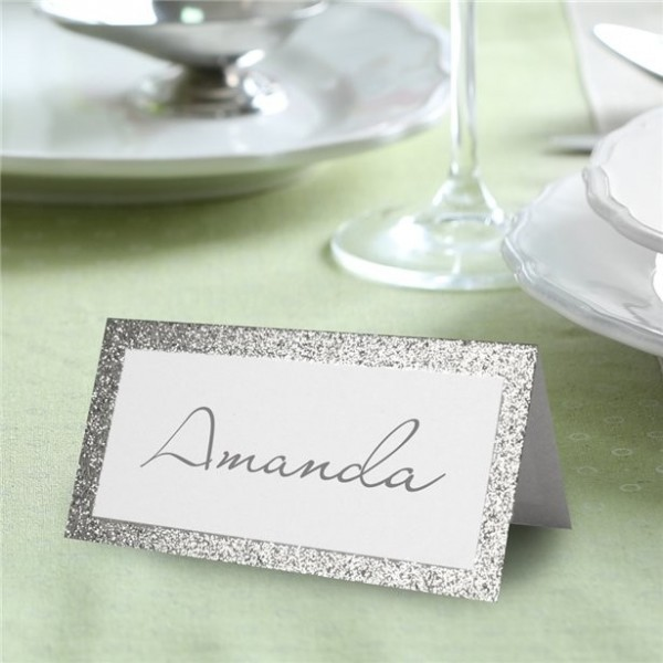 50 glittering silver wedding place cards