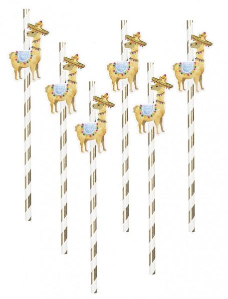 6 pailles en papier de cirque Llama 20cm