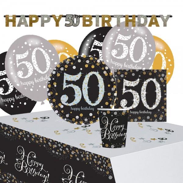 Golden 50th Birthday Deko Set 41-teilig