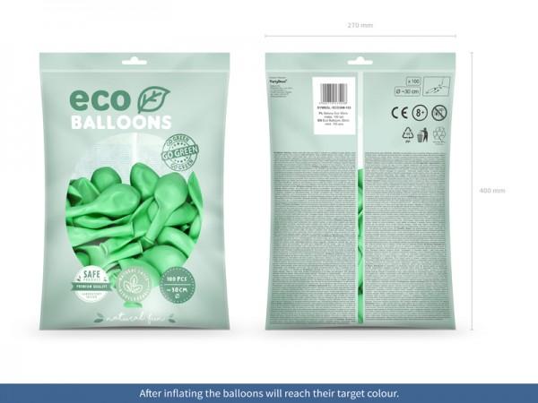 100 ballons éco métallisés vert menthe 30cm