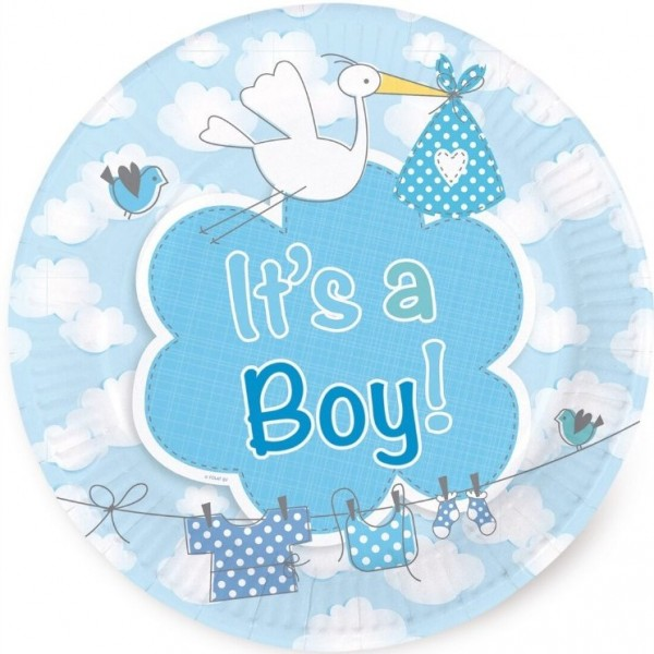 8 Pappteller Adebar It´s a Boy