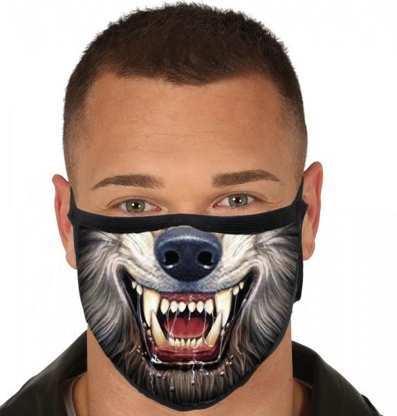 Mund-Nase-Maske grusliger Werwolf