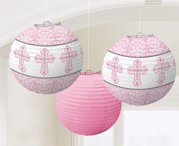 3 linternas chinas Santa Comunión Rosa 24cm
