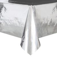 PVC Tischdecke Vera silber glänzend 2,74 x 1,37m