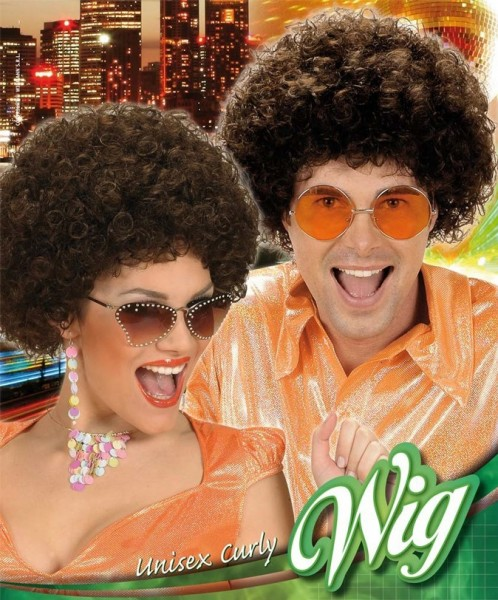 Disco Afro wig brown
