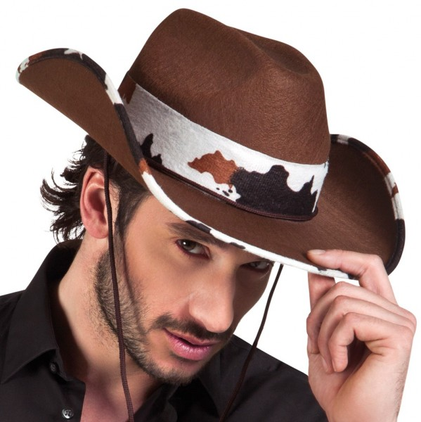 Kieran Cowboy occidentale Hat With Cow Patch