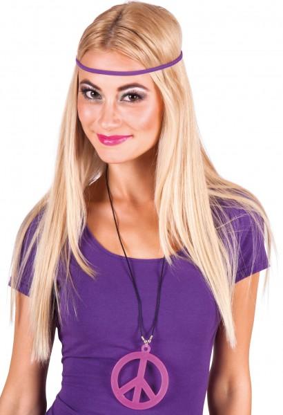 Pinke Hippie Peace Halskette