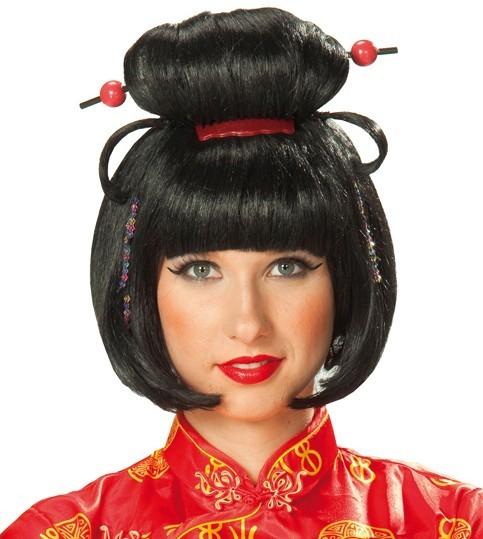 Geisha Perücke Schwarz Mit Roten Perlen