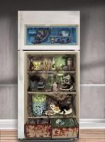 Horror Psychatrie Kühlschrank Wandbild 1,65m x 85cm