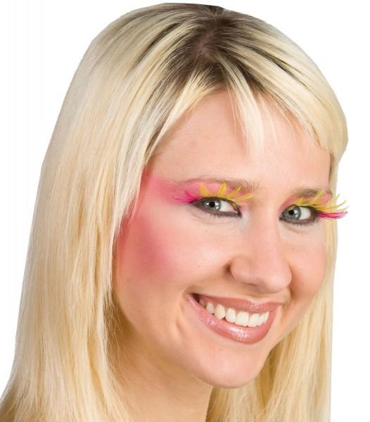 Elegante Feder-Wimpern Pink Gelb