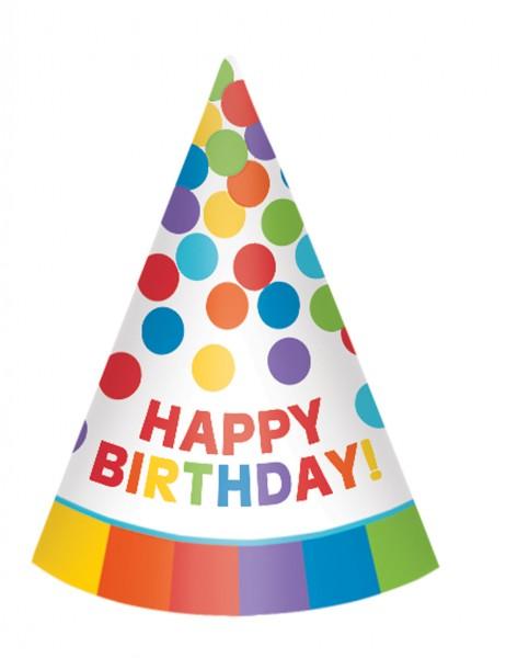 Rainbow Partyhut Happy Birthday 12 Stück