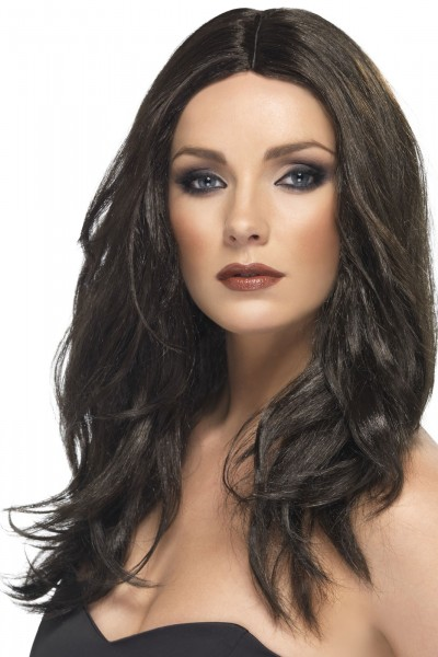 Modern party wig in brown