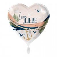 Ewige Liebe Herz Folienballon maritim 43cm