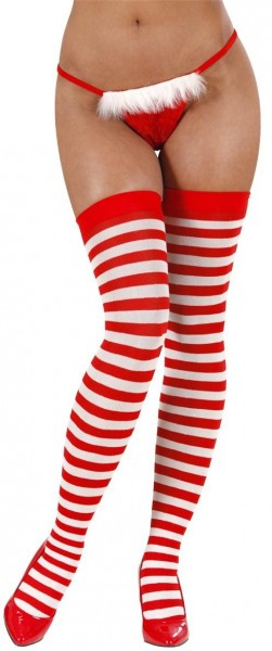 Striped Windy Overknees In Red And White