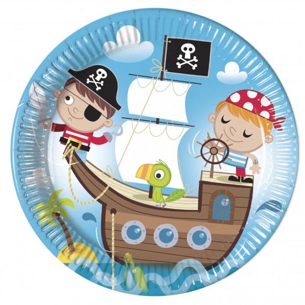 8 Pirat Schwarzzahn Pappteller 23cm