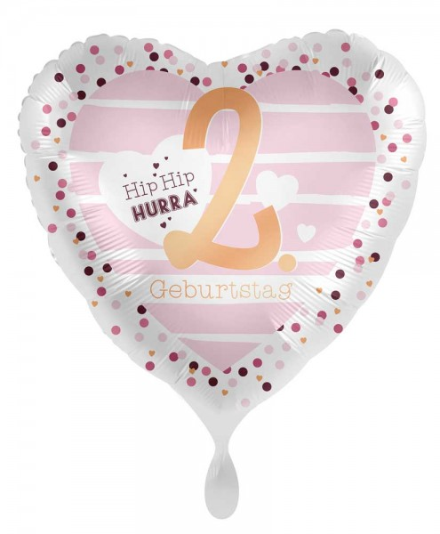 2. Geburtstag Herz Folienballon 45cm