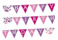 Süße Eulen Happy Birthday Girlande 180x15cm