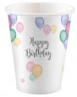 8 Pastell Geburtstag Pappbecher 250ml