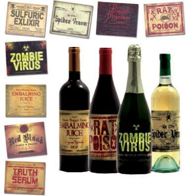 Halloween Bottles Labels