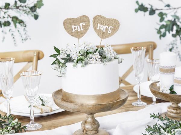 Jute cake decoration Mr & Mrs 18.5cm