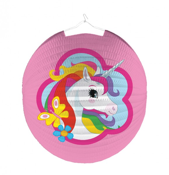 Enchanting Unicorn Lantern Round Rainbow Sparkle 25cm