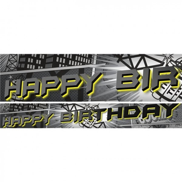 3 Batman Papierbanner Happy Birthday 1m