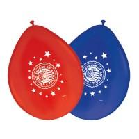 8 Luftballons USA Party Rot Blau 30cm