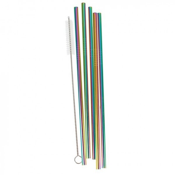 5 rainbow-colored stainless steel drinking straws with brush
