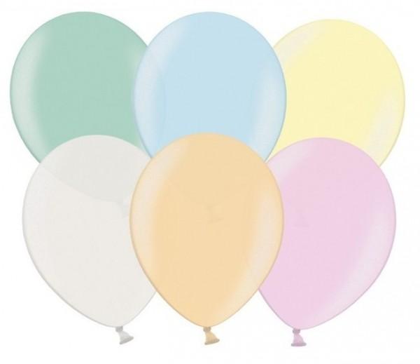 100 Partystar metallic Ballons pastell 27cm