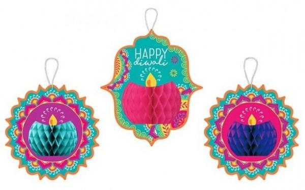 3 cintres à boules en nid d'abeille Happy Diwali